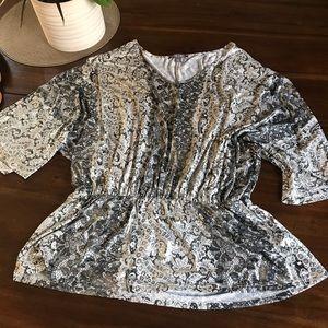 roz&Ali metallic paisley dolman sleeve top size XL